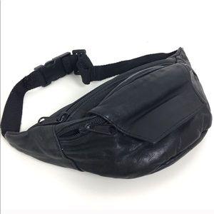 Vintage Black Leather Fanny Pack Hip Bag Festival